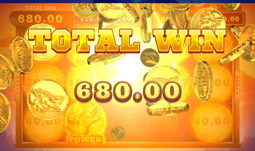 680 kroner i gevinst i bonusspillet på Wolf Power!