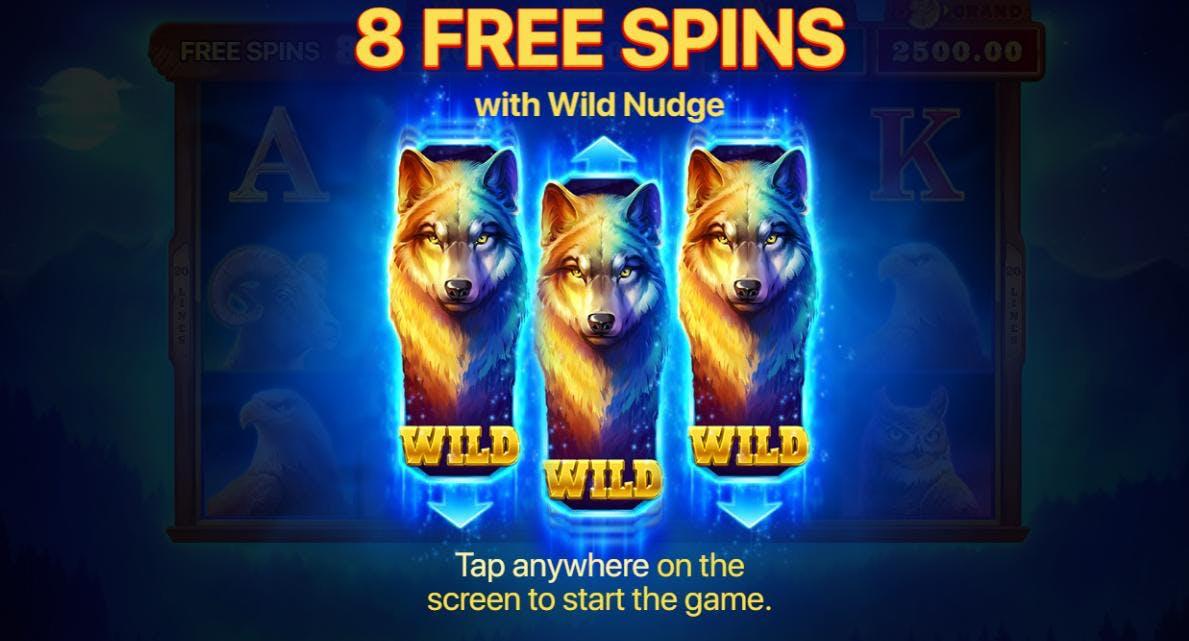 8 gratisspinn med Wild Nudge venter!